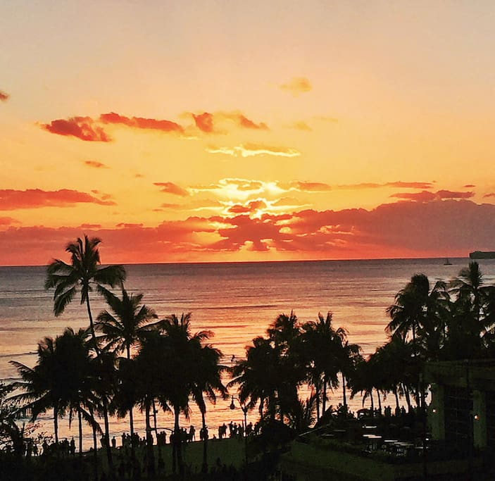 Enjoy amazing Hawaiian sunsets from your private lanai!