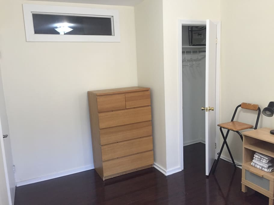 Full-size bed and a real closet. That's unusual in Brooklyn.