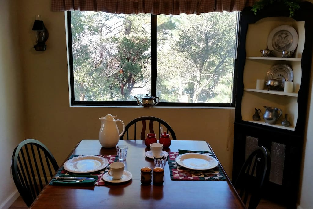 Breakfast is served in our dining room.