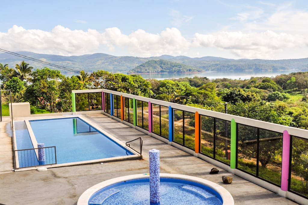 Our pool with an incredible view on Lake Arenal