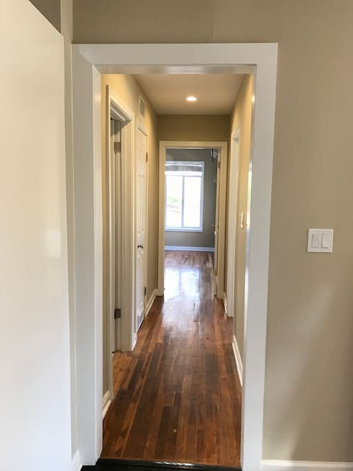Hallway to bathroom and bedrooms.