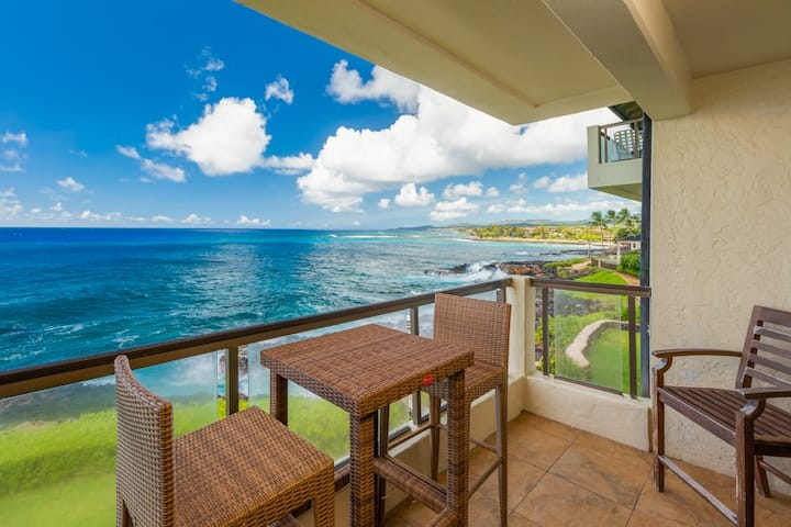 Poipu Shores 305A 2BR on the ocean!  Heated Pool and Air conditioing!