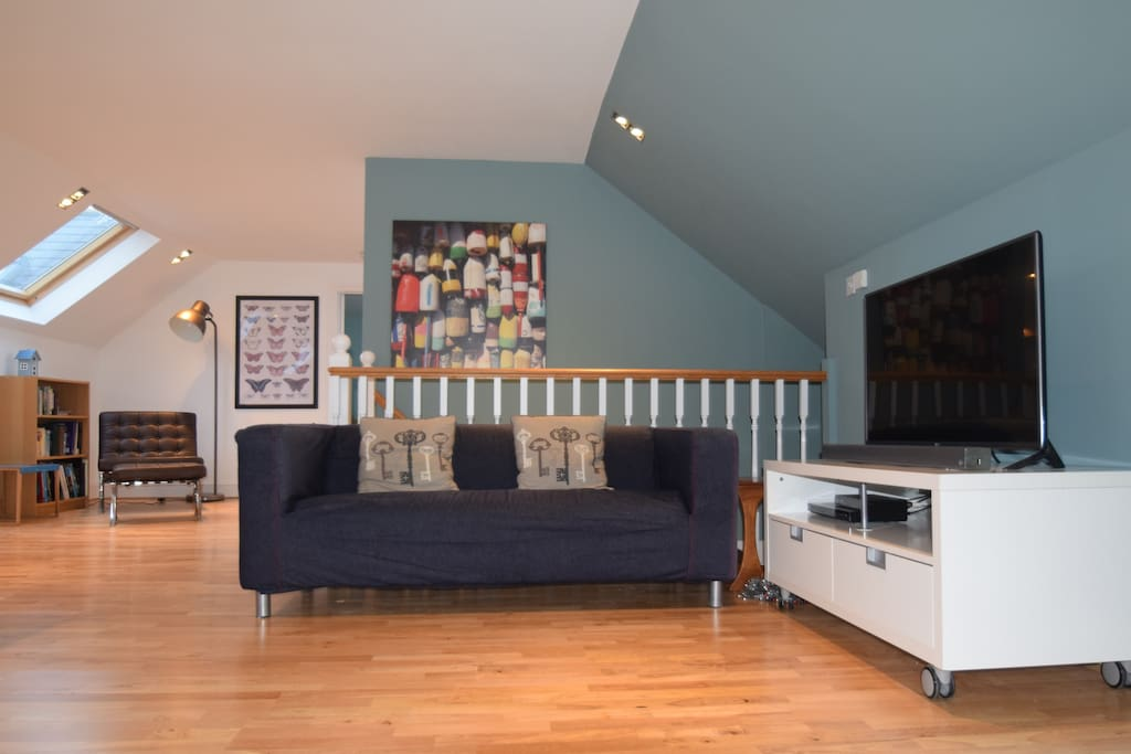 """Our completely refurbished sitting room has a 43"""" smart TV and bluetooth speaker for your music"""
