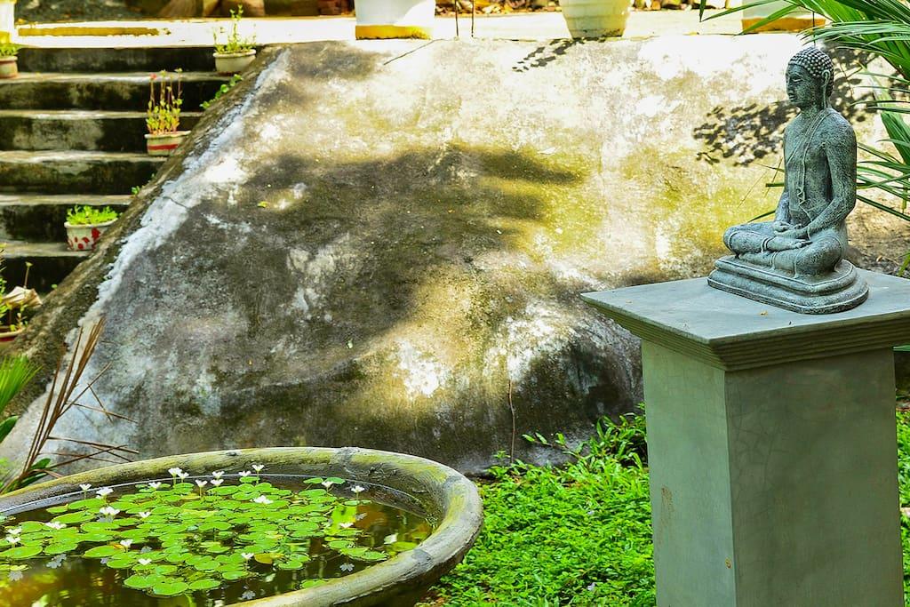 Bushs statue in the garden