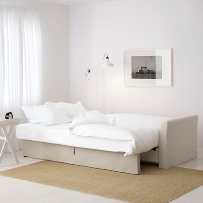 Example of the size of the sofa bed when extended.