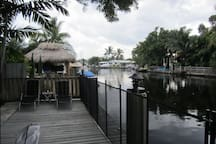 Large dock with optional/removable safety fencing to keep children from the water