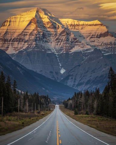 Mt. Robson  22 miles east