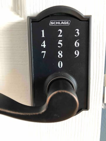 Your rooms own privacy lock also keyless.