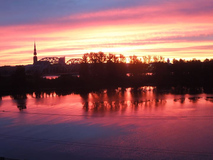 3 room apartment with a view of river Daugava