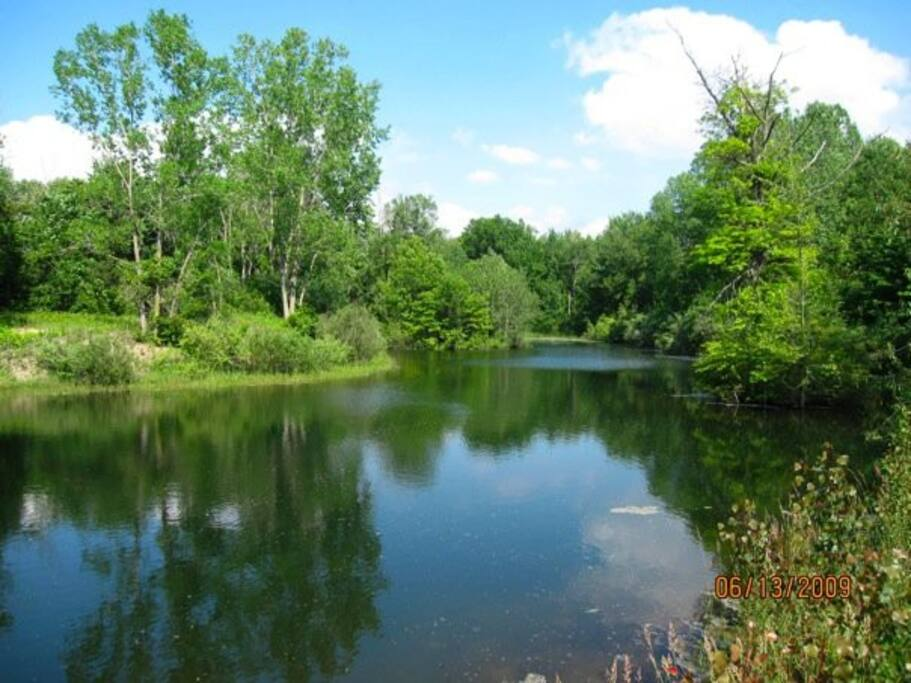 6 Acre Private Spring fed/stocked lake with aeration system.