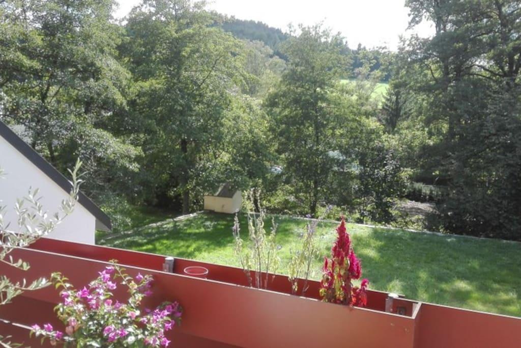 Balkon: Blick auf die Ausläufer des Schwarzwaldes