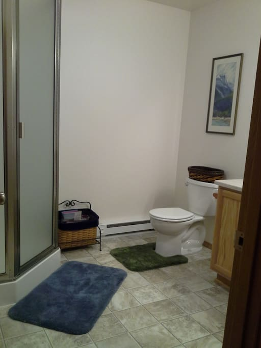 Semi-private 3/4 bathroom with shower stall.