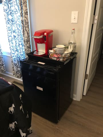 Coffee and little refrigerator