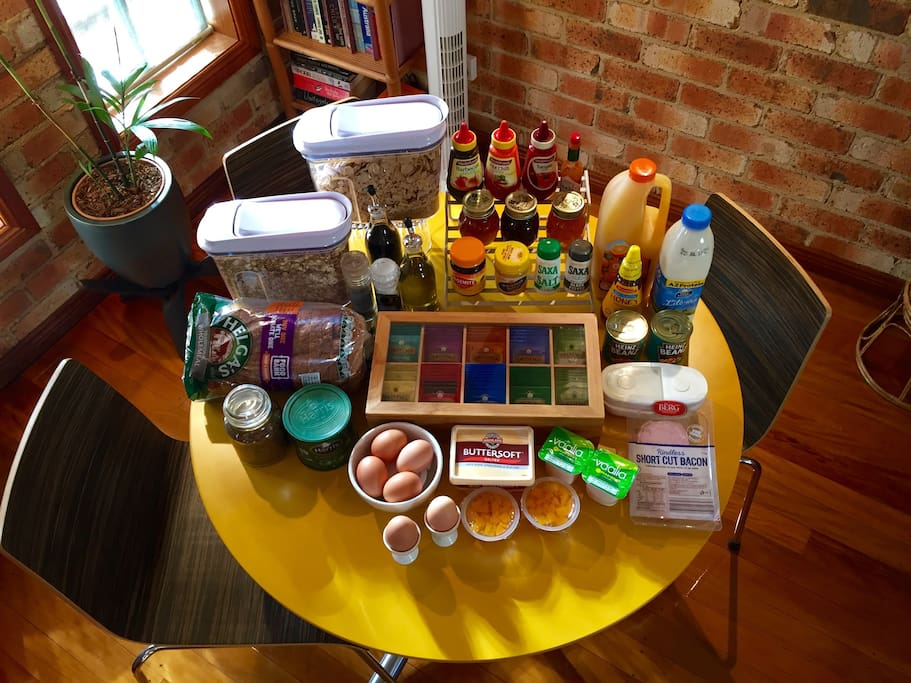 Breakfast provisions provided daily