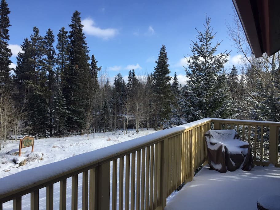 Snowy deck and view towards Creek