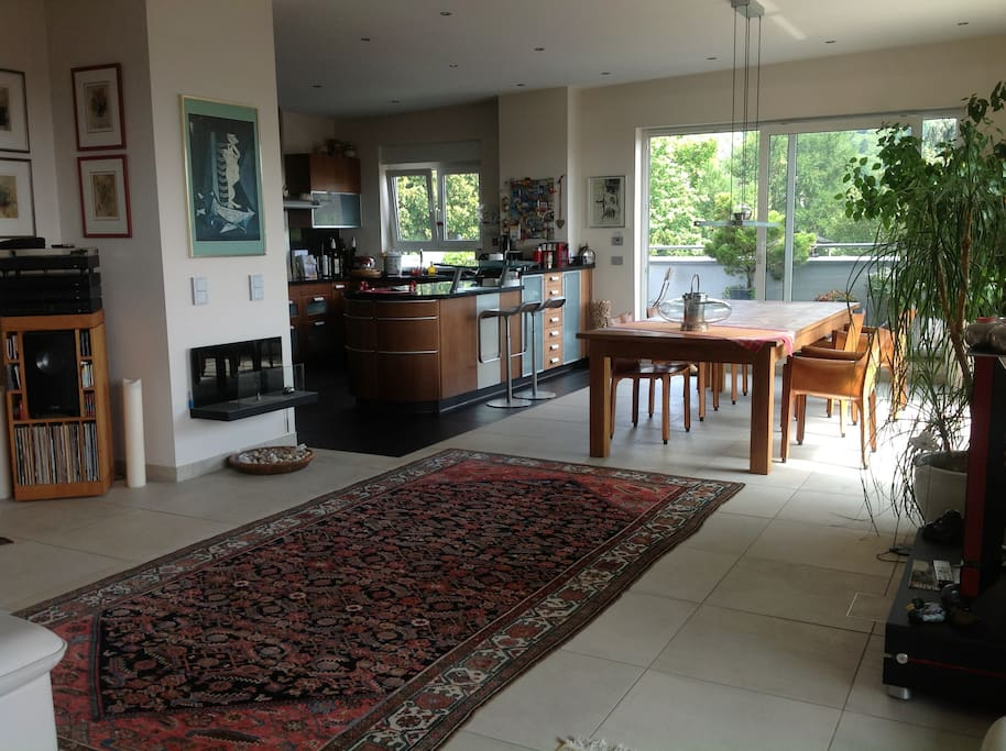 Spacious living area and an open kitchen