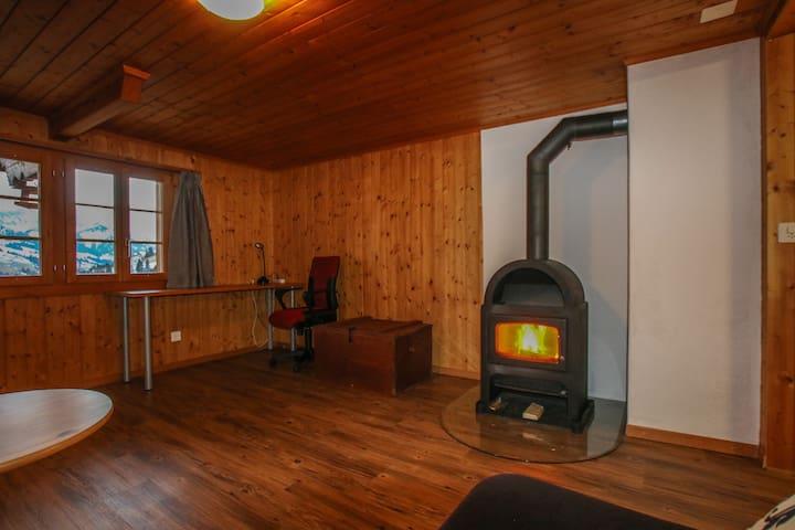 Wohnzimmer mit Ofen und kleinem Arbeitsplatz.