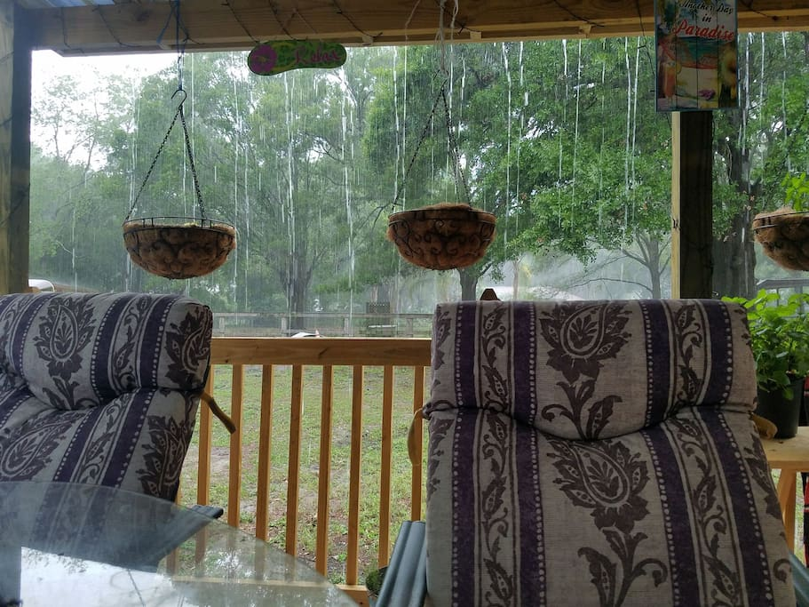 Back porch on a rainy day