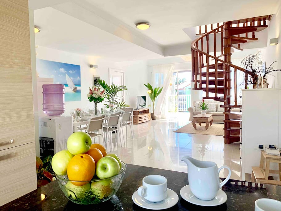 2-level private penthouse with everything you might need for a comfortable stay.