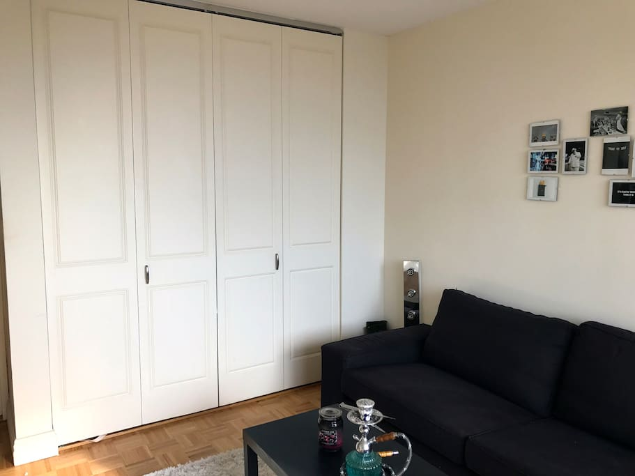 Couch and closet area