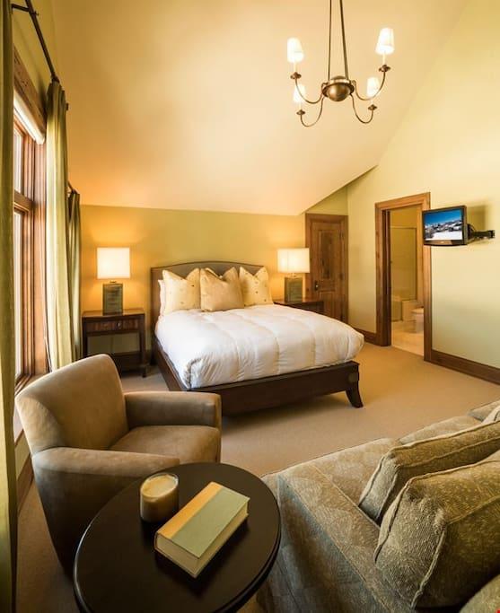 Get a good night sleep in the master bedroom.