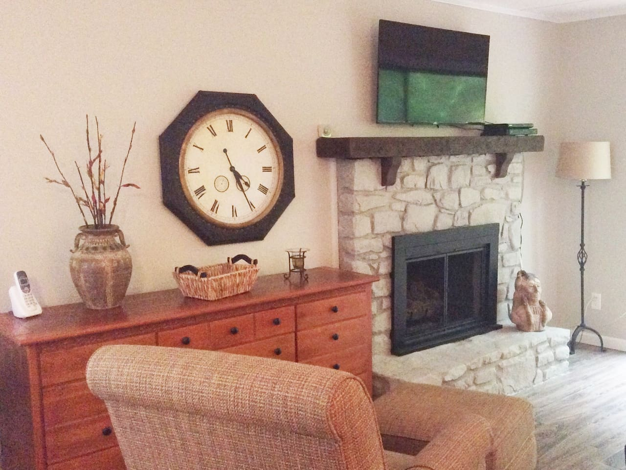 The gas log fireplace in the living room is perfect for the winter or in the cooler evenings during other seasons.
