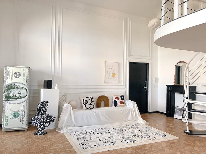 【H家】No.2罕见稀缺圆形Loft艺术公寓/落地影院投影/榻榻米/法式时髦博主Home