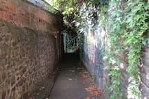 hidden walkway in central Bristol