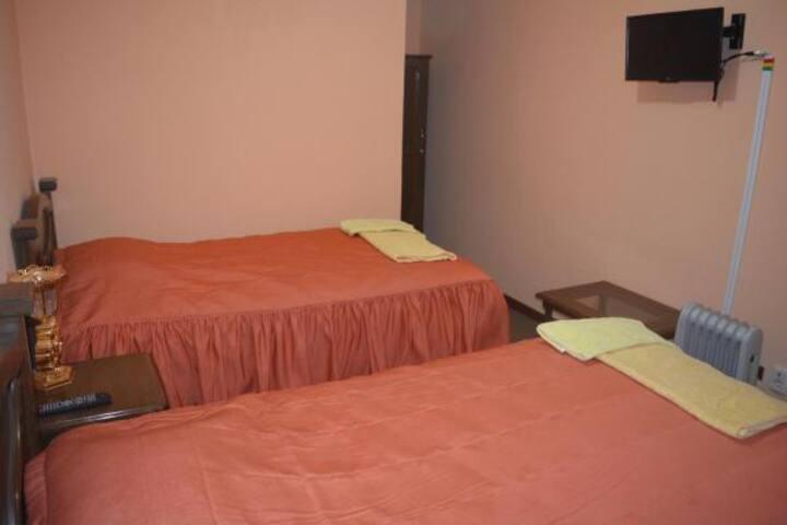 habitacion 2 camas con baño privado