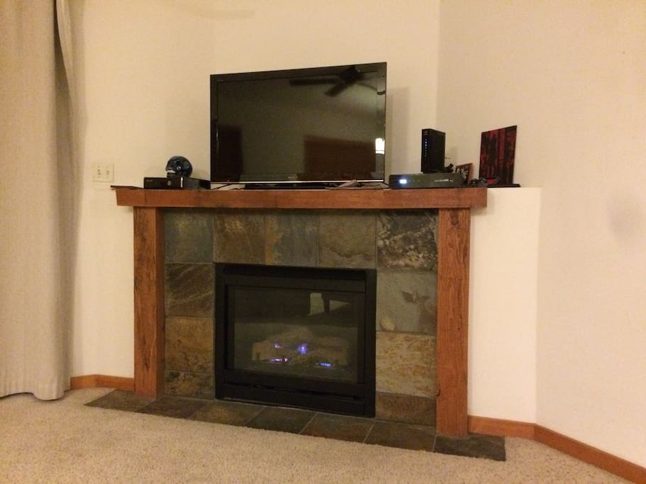 television and gas fireplace