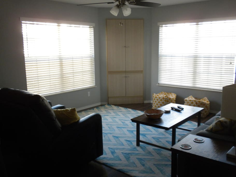 Family Room area with a ceiling fan!