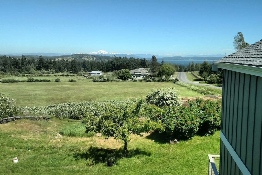 View from the loft. (Griffin Bay, Lopez Island, Mount Constitution and Mount Baker on clear days).