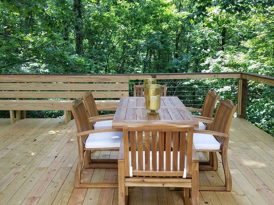 Large outdoor dining table for 6