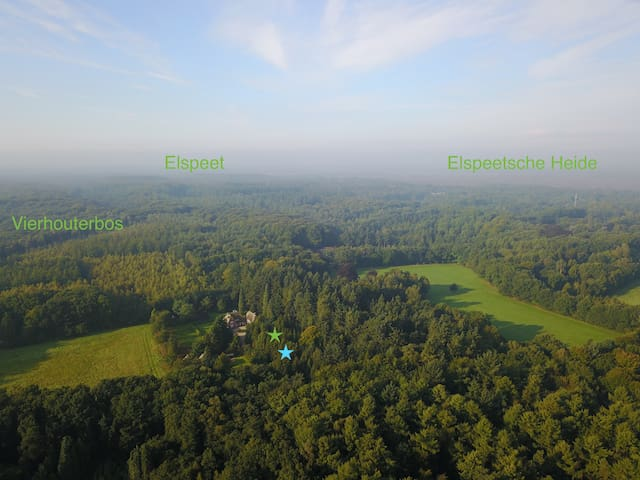 The estate from the sky, looking south. The blue star indicates cottage 'Wildhoef'