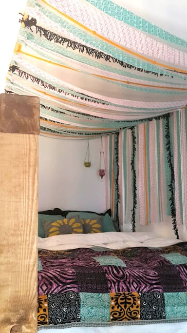 Your dreams will never be sweeter than in this comfy bed covered by the whimsical canopy.