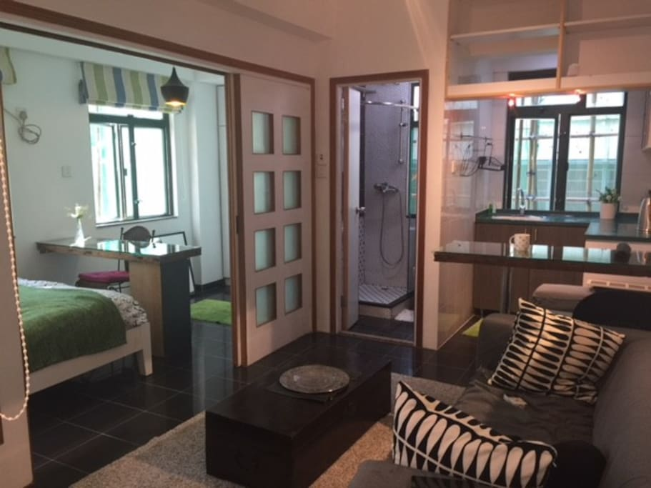 This 1 bed room entire flat is to book, not share with anyone.  Very Bright, quiet, very private and located very Center of Hong Kong. Walking Distance to Hong Kong Station, City Airport Check in Station.