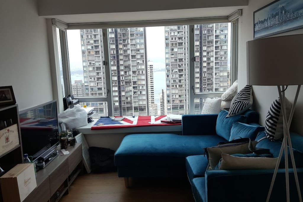 Living room with amazing view of Hong Kong Harbour