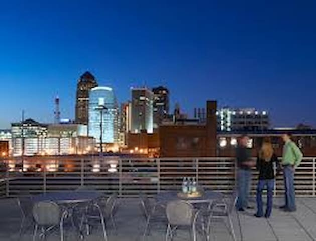 Rooftop patio overlooking downtown  Des Moines
