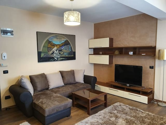 Living room with flat TV set and signed painting