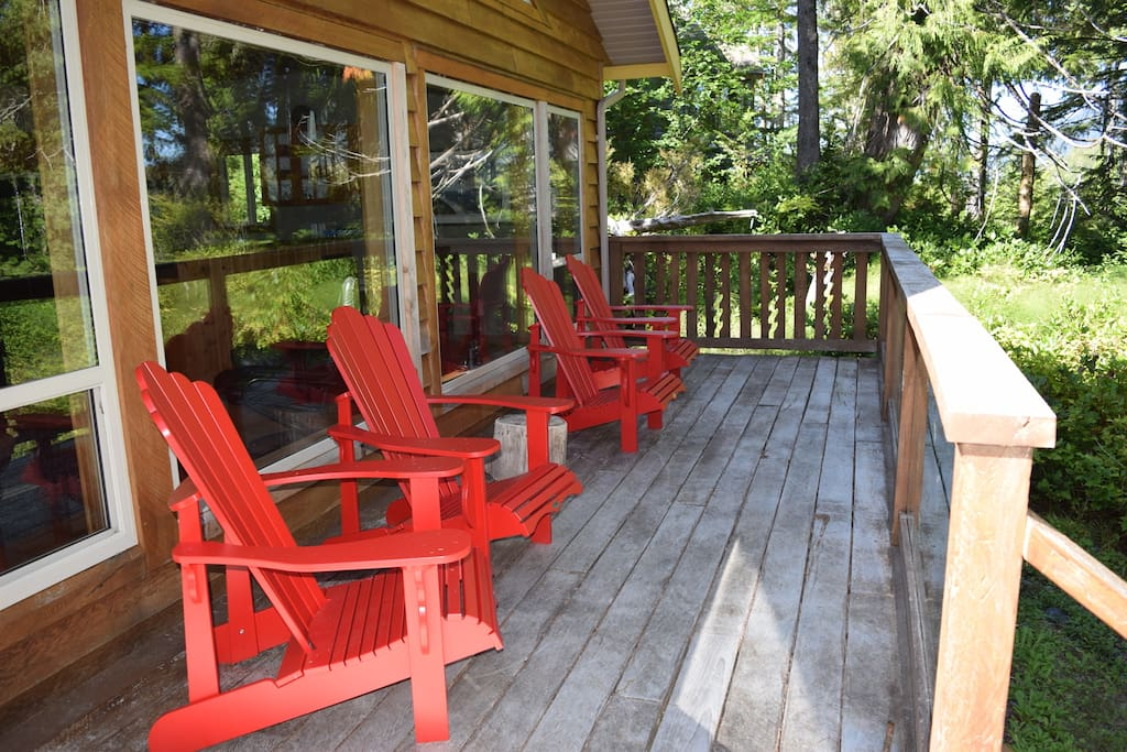 This deck is ideal for morning coffee and relaxing with a good book.