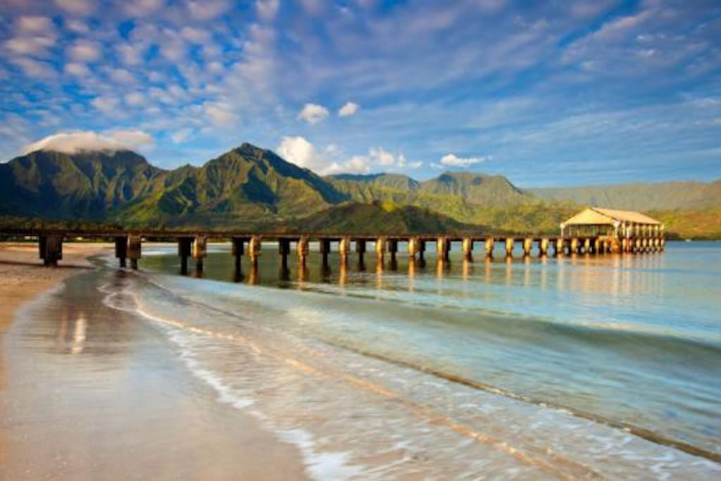Beautiful Hanalei Bay,  Just 3.5 miles north.