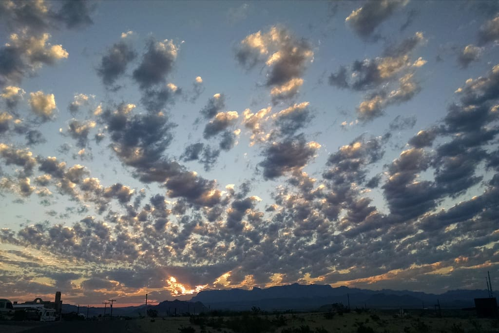 Sunrise over the Chisos from front door