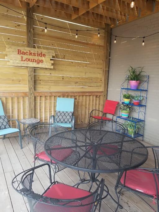 The Backside Lounge lower level deck - perfect for morning coffee or evening cocktails!
