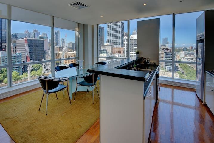 The kitchen and dining area also enjoy magnificent views