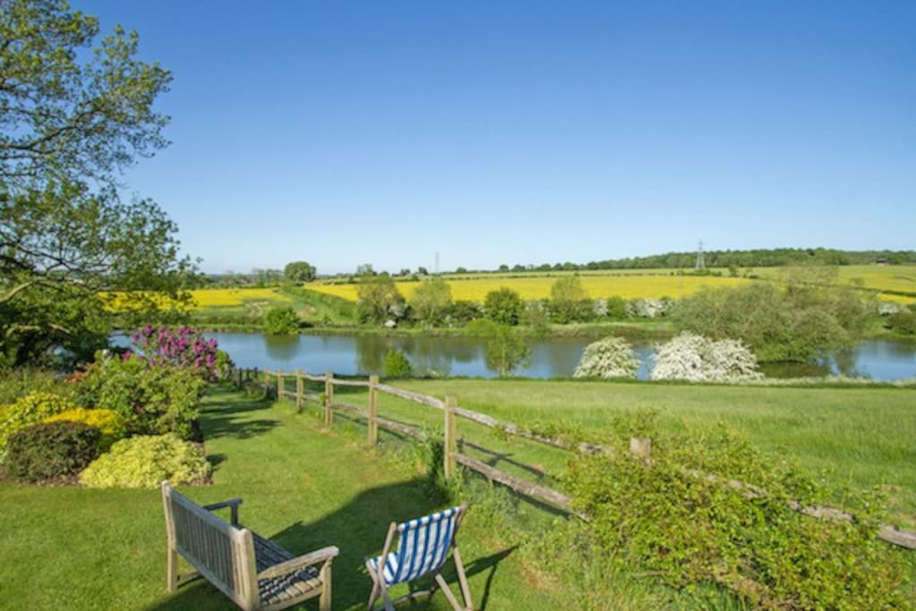 View from the garden from the main house but guests welcome to walk about the gardens and the lake