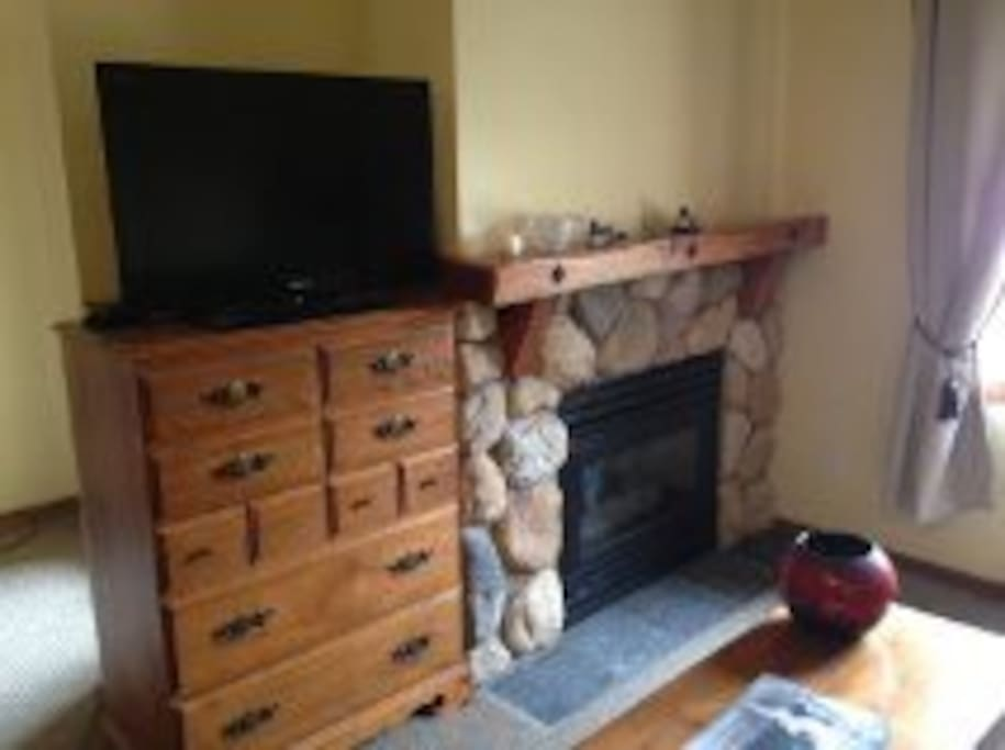 with comfy gas fireplace