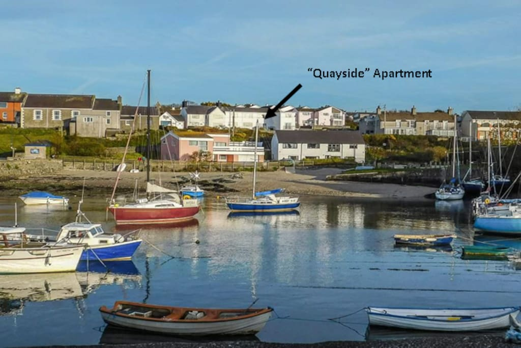 "Arrow shows Harbour View Flats and our ""Quayside"" apartment is at the rear of the building"