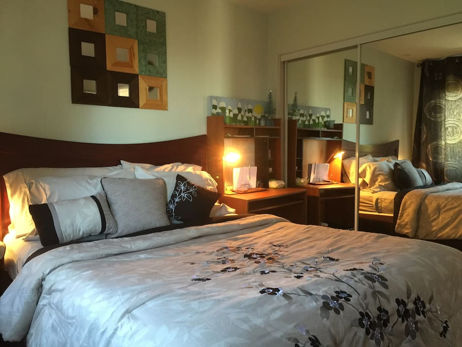 Comfortable bedroom with queen size bed, TV, stereo, small refrigerator