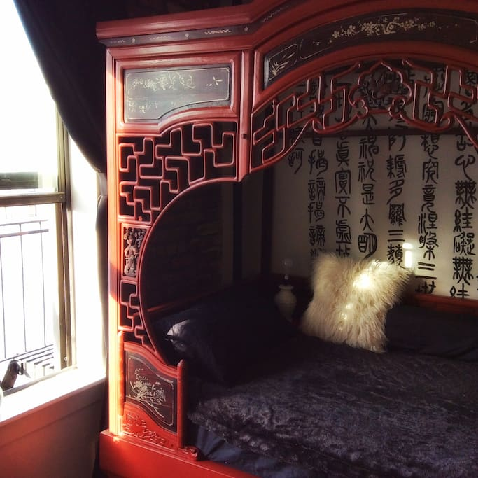 Chinese antique wedding bed with a custom made super comfy mattress from England by Seventh Heaven