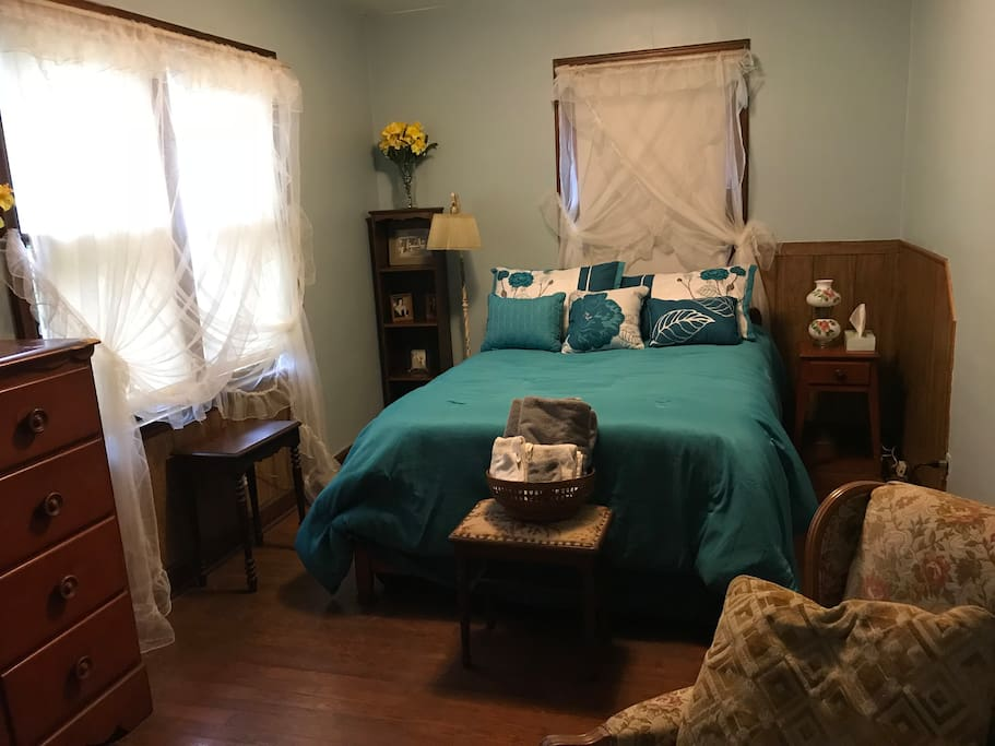 Your bedroom is a warm and friendly area with a full size bed.